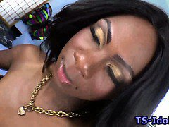Ebony shemale chick with dick jacking off
