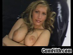 Big tit blonde strips and shows her pussy
