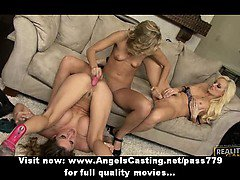 Amateur amazing blonde lesbian couple kissing on the couch