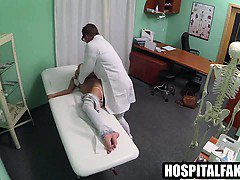 Brunette patient gets licked and fucked hard