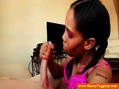 Hj loving ebony teen tugging cock