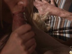 Hot Hanna and Chelsey eats his cock out