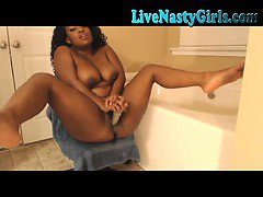 Black Webcam Girl Has Dildo In Shower