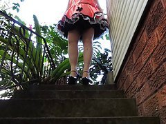 Sissy Ray in Satin Sissy Dress Outdoors Upskirt