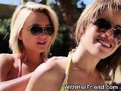 Pretty Teen Best Friends Sucking Dick Outdoors By Pool
