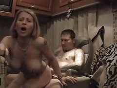 Amateur Trailer Big Tit MILF Sucks and gets Anal Creampie