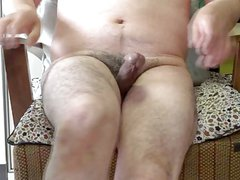 Japanese old man masturbation hard erect penis semen flows