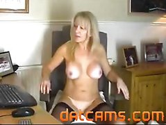 Office slut plays for the webcam