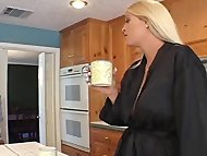 BLONDE TEEN AND MOM FUCK DAD.