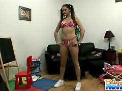 Hot brunette 18 yo Tori Black working out naked in the