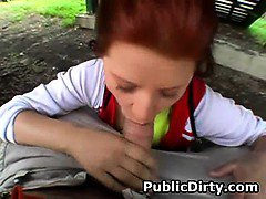 Red Headed Amateur Girl Sucking Dick In Public Outdoors