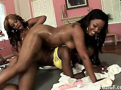Three hot black chicks and their toysThree hot black