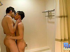 William and Damien get into the shower together for a