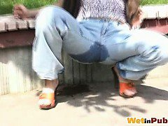 Bigtitted amateur chick wets her jeans