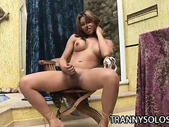 Hot shemale Mixely Brasil plays around with her hard cock