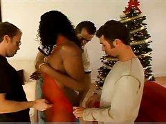 Christmas gangbang foursome orgy with ebony and DP