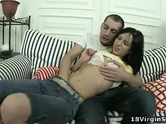 Cutie deflowered by filthy guy with big cock.