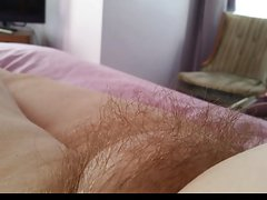 side view of the wifes hairy pussy