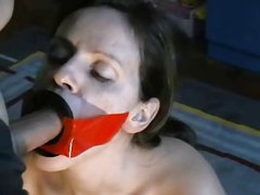 Sub wife ring gag mouthfuck