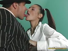 Model gets cum from boss