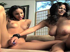 Two girls sharing one guy's hard dick