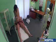 Super sexy brunette patient gets her pussy pounded by fake doctor