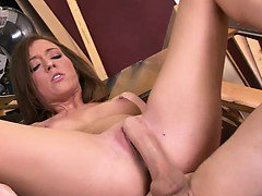 Teenage pussy spread wide by thick cock