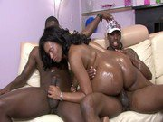 Ebony with big ass pounded hard by two black cocks