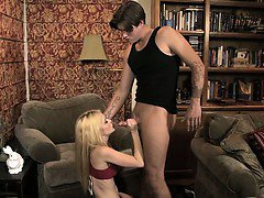 Blonde teen goes to town on his balls
