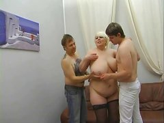Russian mature mother seducing younger in silk dress pt1