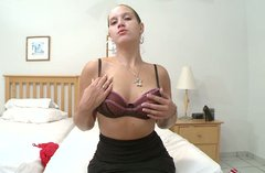 Horny sexpot with big ass fingers her pussy in her bedroom