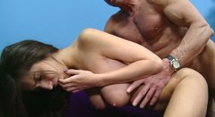 Sultry dark head babe gets nailed hard doggy style in a steamy free porn clip
