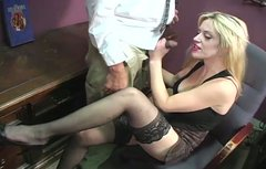 Buxom blondie gives her co-worker one hell of a blowjob