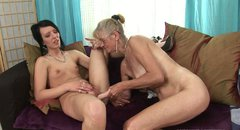 Old woman fucks her lesbian friend with her sex toy