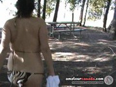 Teen amateur bikini big tits fingering on park bench outdoors