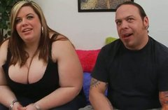 Seductive BBW hooker with huge boobs gives a head for cam