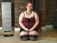 Dirty red head BBW whore pleases herself with smooth sex toy in filthy solo masturbation video