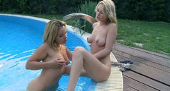 Dazzling lesbian blonde babes eats one another by the poolside outdoor
