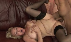 Horny granny with big tits gets her muff fucked in missionary position