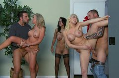 Sienna West, Kagney Linn Karter and Dylan Riley participate in group sex orgy