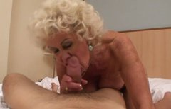 Spoiled granny with big tits rides on cock like a true cowgirl