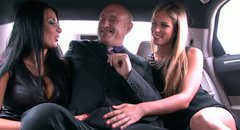 Two elite whores give blowjob to one rich dude in a limousine