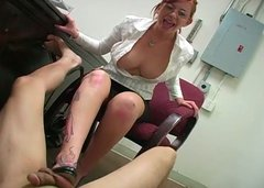 Hussy secretary chick sucks dick and touches it with her feet