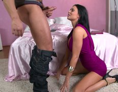 Horny brunette slut Jasmine Jae sucks fingers and swallows dick and balls