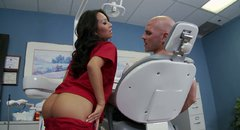 Exotic looking nurse Asa Akira sucks big dick deepthroat in 69 position