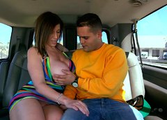 Stout in back and front brunette mom gives head at the bangbus