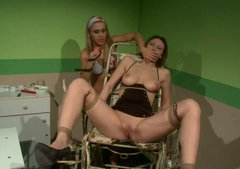 Naughty head nurse tortures restrained brunette patient