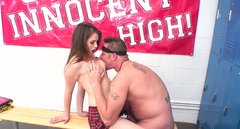 Sexy college student gets her tight pussy hole fucked hard by horny coach in a locker room
