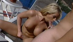 Busty blonde Brooke Haven gives hot blowjob to her lover