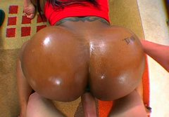 Big black oiled ass in cowgirl and doggy style positions